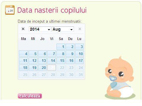 Data nasterii copilului - Calculator